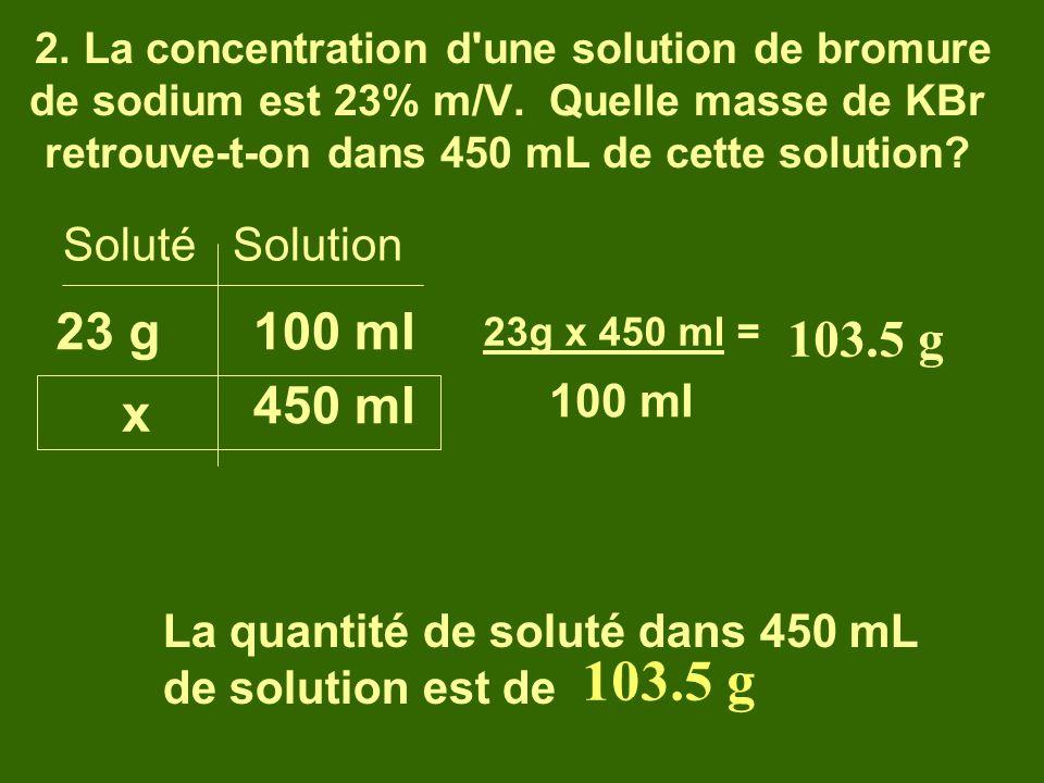 103.5 g 23 g 100 ml 103.5 g 450 ml x Soluté Solution 100 ml