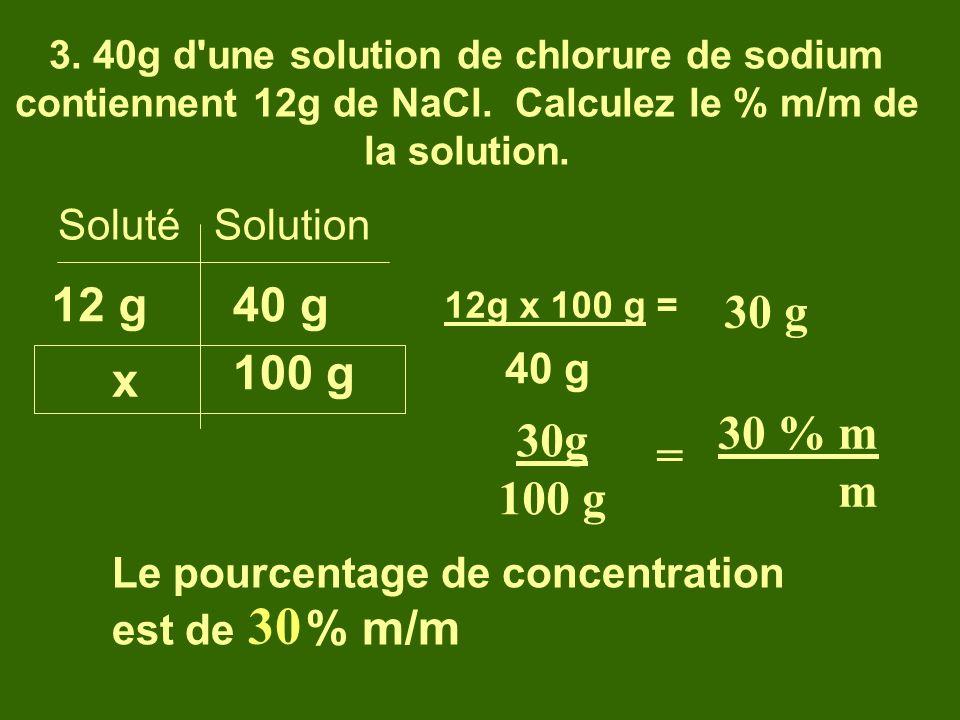 30 12 g 40 g 30 g 100 g x 30 % m m 30g 100 g = Soluté Solution 40 g