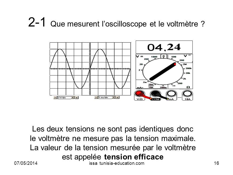 2-1 Que mesurent l'oscilloscope et le voltmètre