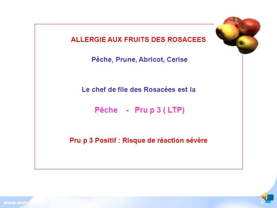 Pêche - Pru p 3 ( LTP) ALLERGIE AUX FRUITS DES ROSACEES
