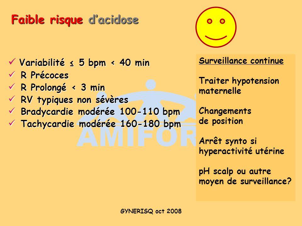 Faible risque d'acidose