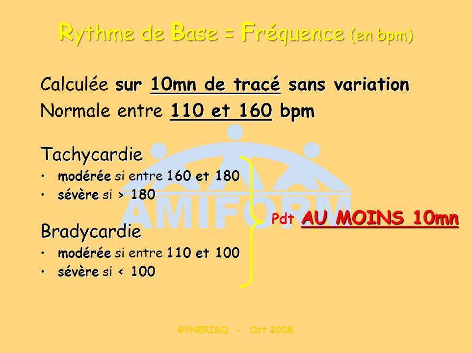 Rythme de Base = Fréquence (en bpm)