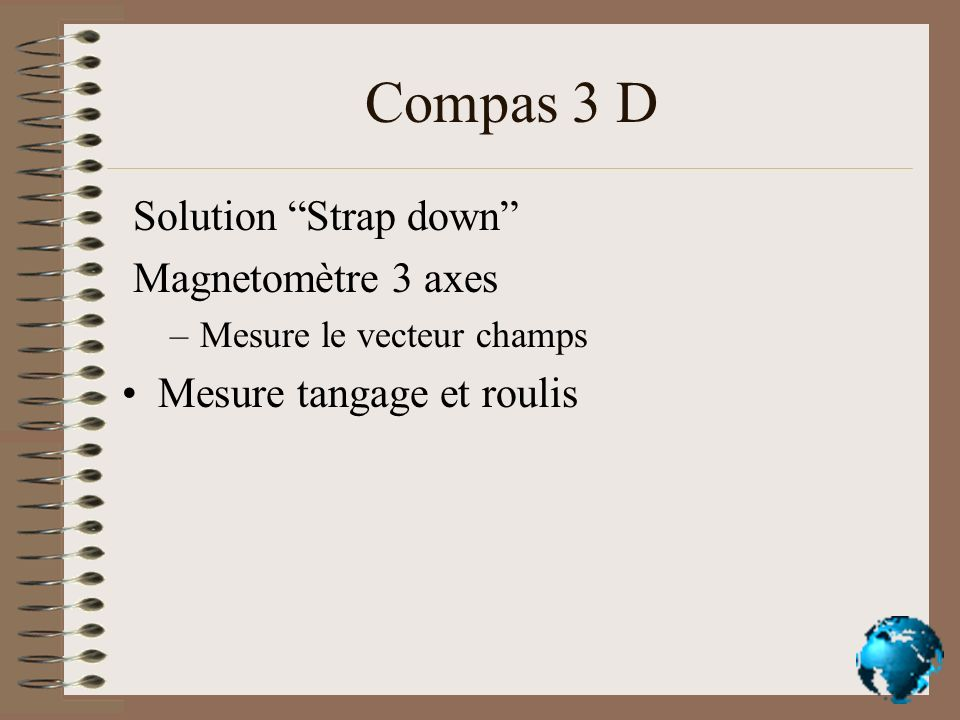 Compas 3 D Solution Strap down Magnetomètre 3 axes
