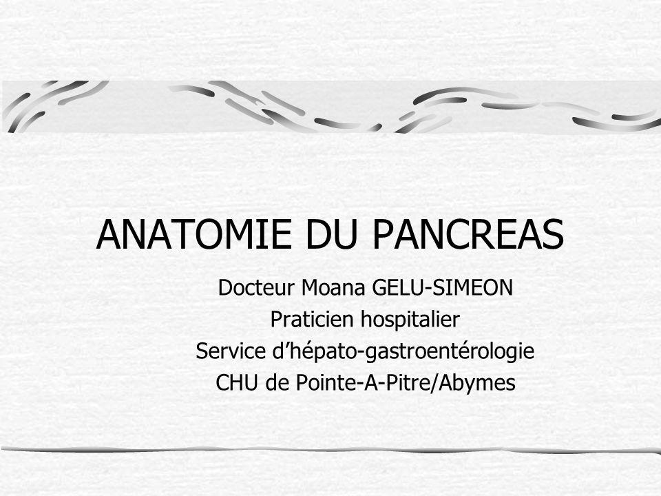 ANATOMIE DU PANCREAS Docteur Moana GELU-SIMEON Praticien hospitalier