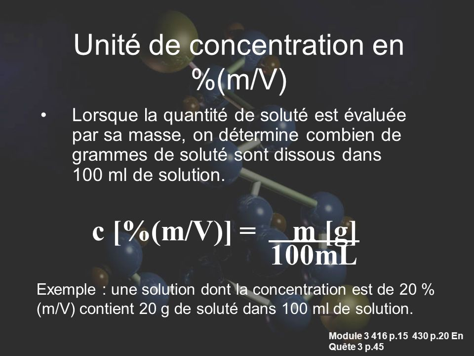 Unité de concentration en %(m/V)