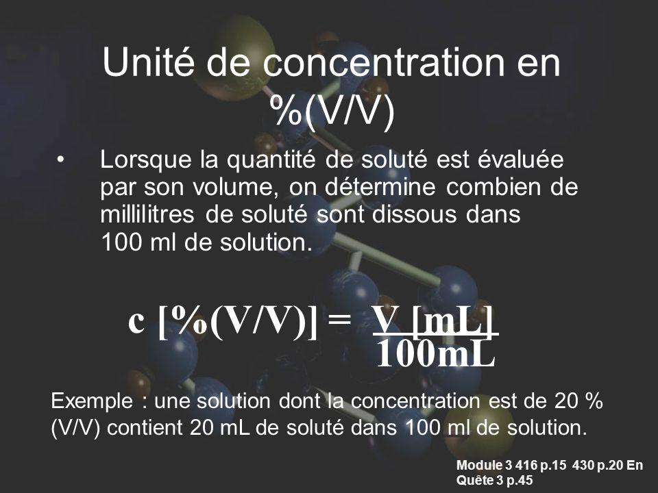 Unité de concentration en %(V/V)