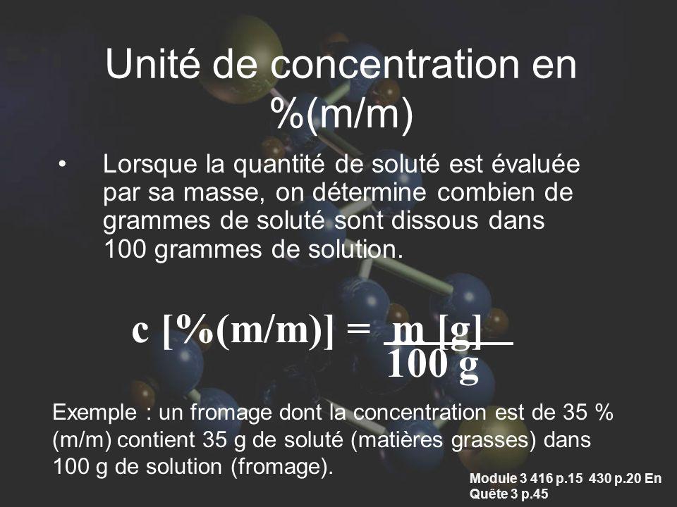 Unité de concentration en %(m/m)