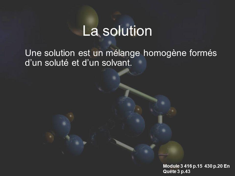 La solution Une solution est un mélange homogène formés d'un soluté et d'un solvant.