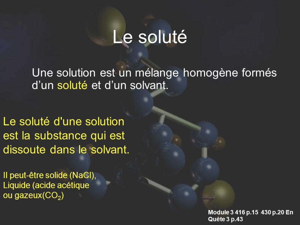 Le soluté Une solution est un mélange homogène formés d'un soluté et d'un solvant. Le soluté d une solution.