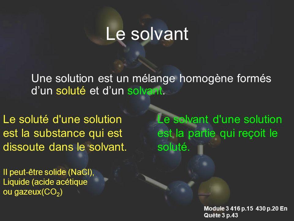 Le solvant Une solution est un mélange homogène formés d'un soluté et d'un solvant. Le soluté d une solution.