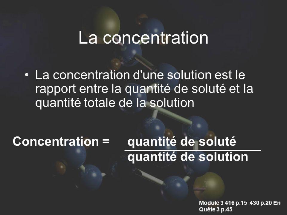 La concentration La concentration d une solution est le rapport entre la quantité de soluté et la quantité totale de la solution.