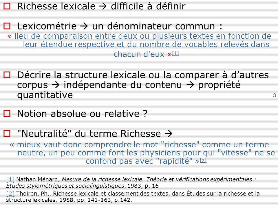 Richesse lexicale  difficile à définir