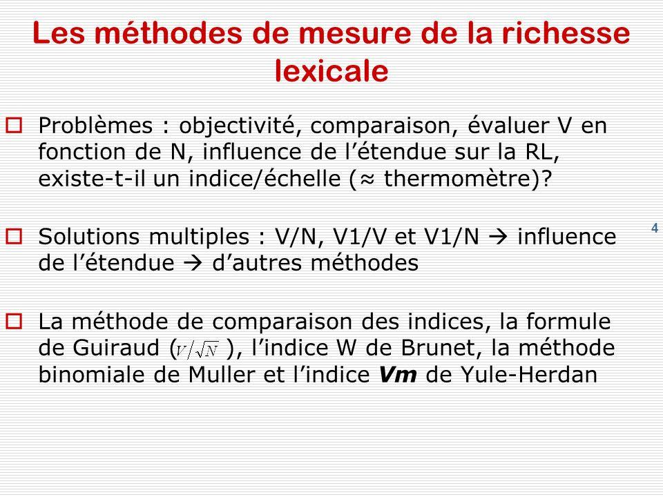 Les méthodes de mesure de la richesse lexicale