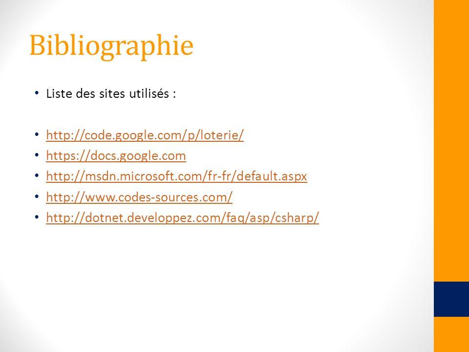 Bibliographie Liste des sites utilisés :