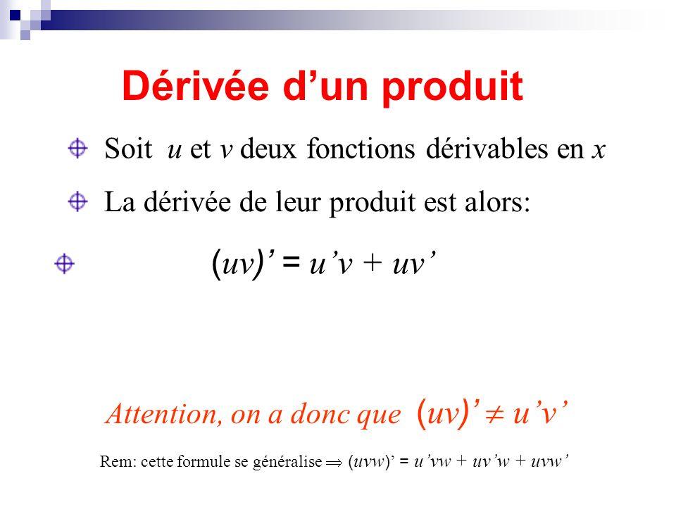 Dérivée d'un produit Soit u et v deux fonctions dérivables en x