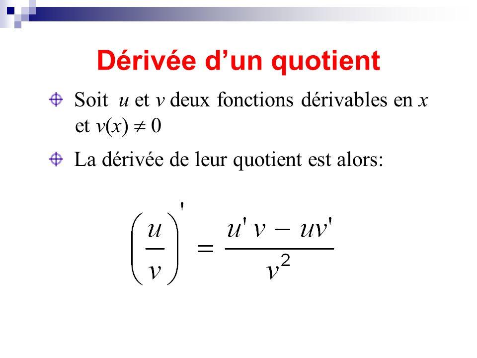 Dérivée d'un quotient Soit u et v deux fonctions dérivables en x