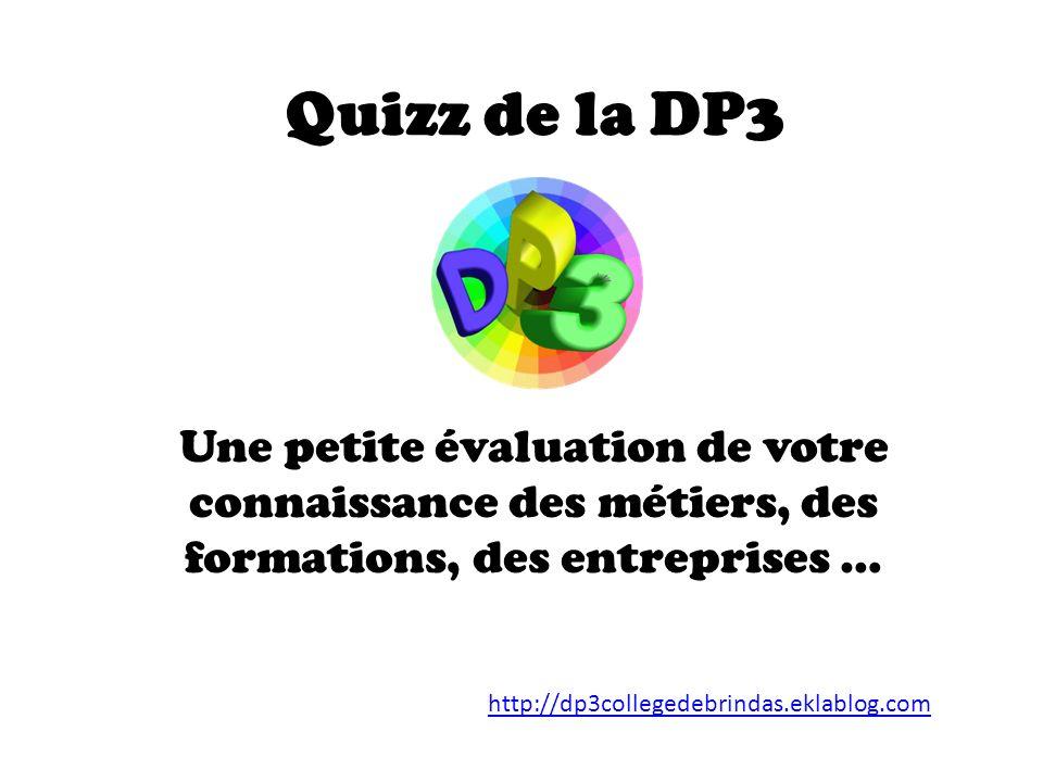 Quizz de la DP3 Une petite évaluation de votre connaissance des métiers, des formations, des entreprises …