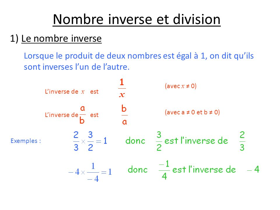 Nombre inverse et division