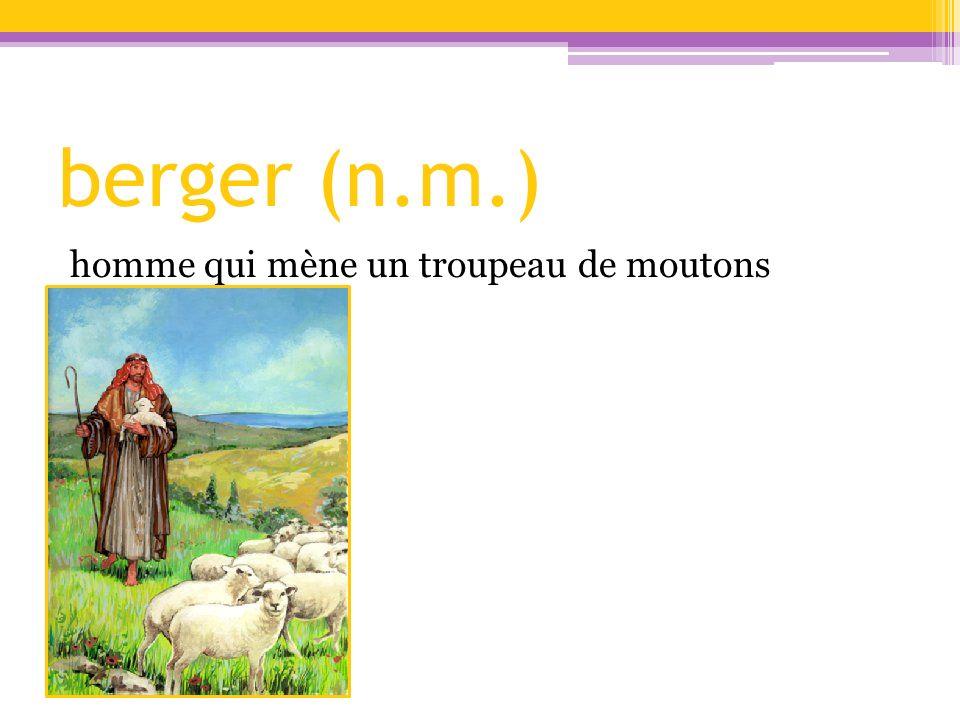 berger (n.m.) homme qui mène un troupeau de moutons