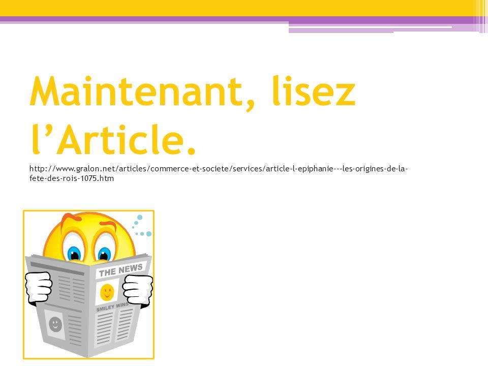 Maintenant, lisez l'Article. http://www. gralon