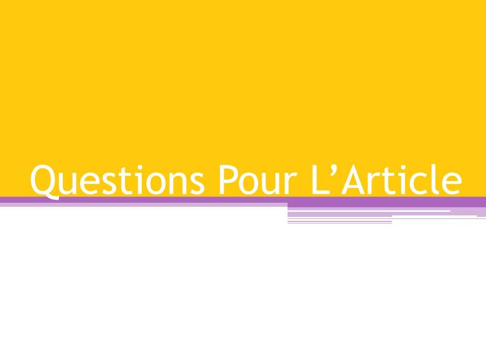 Questions Pour L'Article