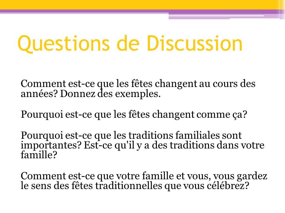 Questions de Discussion