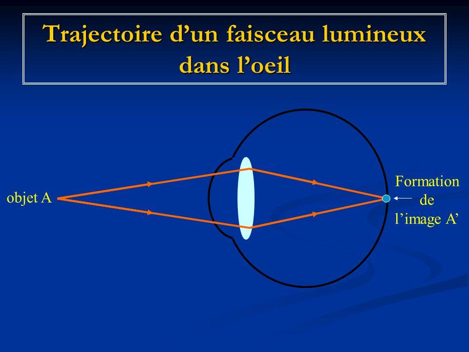 Trajectoire d'un faisceau lumineux dans l'oeil