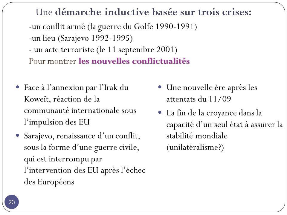 Une démarche inductive basée sur trois crises: