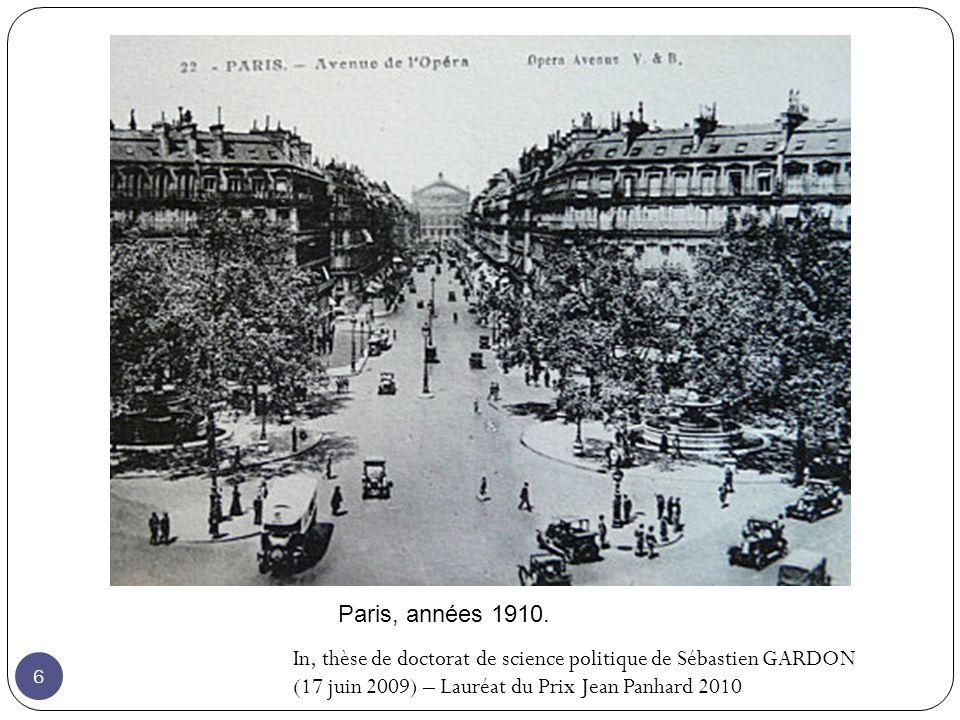 Paris, années 1910. In, thèse de doctorat de science politique de Sébastien GARDON.