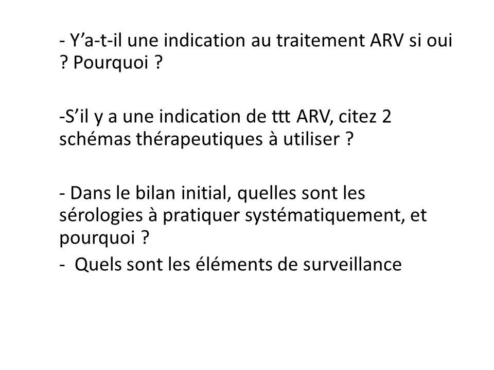 - Y'a-t-il une indication au traitement ARV si oui Pourquoi