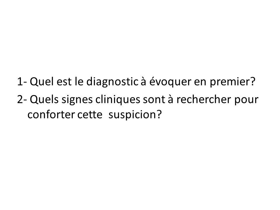 1- Quel est le diagnostic à évoquer en premier