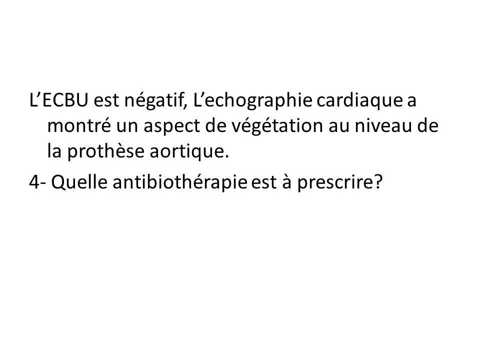 L'ECBU est négatif, L'echographie cardiaque a montré un aspect de végétation au niveau de la prothèse aortique.