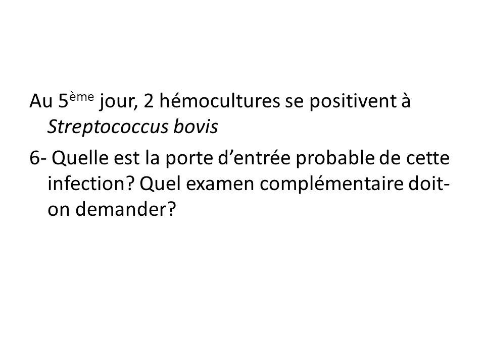 Au 5ème jour, 2 hémocultures se positivent à Streptococcus bovis 6- Quelle est la porte d'entrée probable de cette infection.