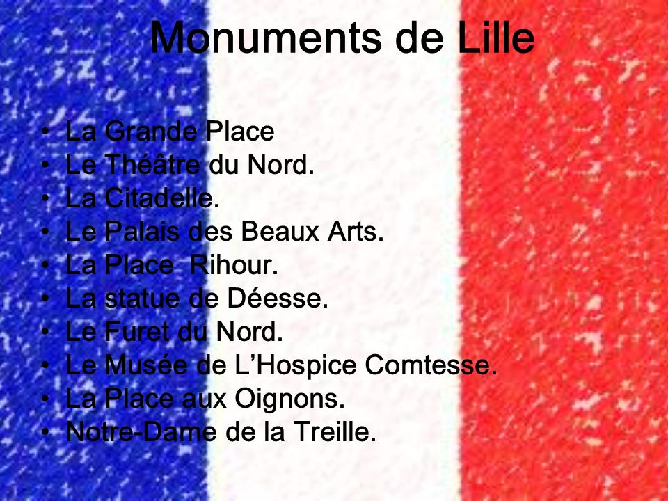 Monuments de Lille La Grande Place Le Théâtre du Nord. La Citadelle.