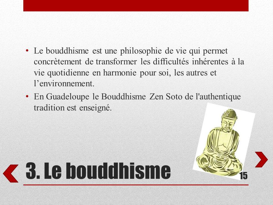 Le bouddhisme est une philosophie de vie qui permet concrètement de transformer les difficultés inhérentes à la vie quotidienne en harmonie pour soi, les autres et l'environnement.