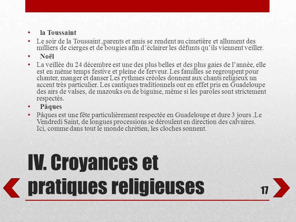 IV. Croyances et pratiques religieuses