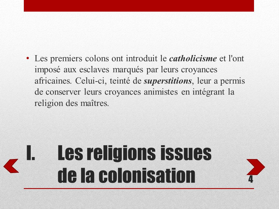 Les religions issues de la colonisation