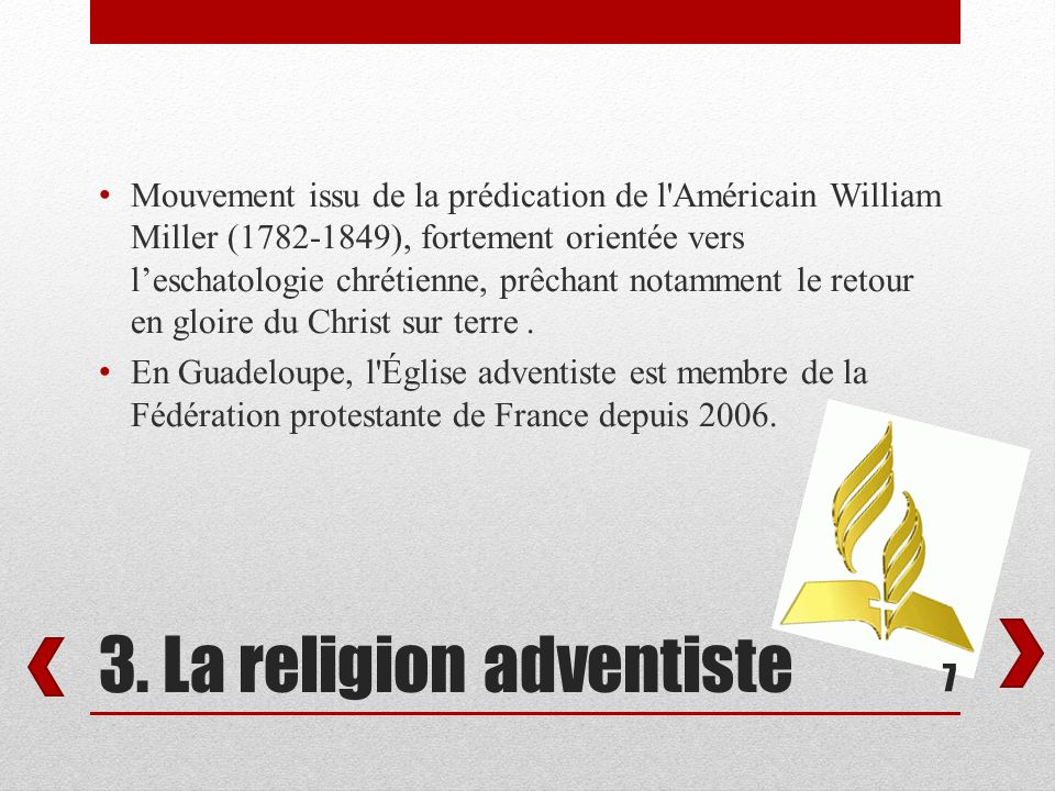 3. La religion adventiste
