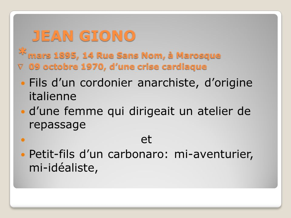 JEAN GIONO *mars 1895, 14 Rue Sans Nom, à Marosque  09 octobre 1970, d'une crise cardiaque