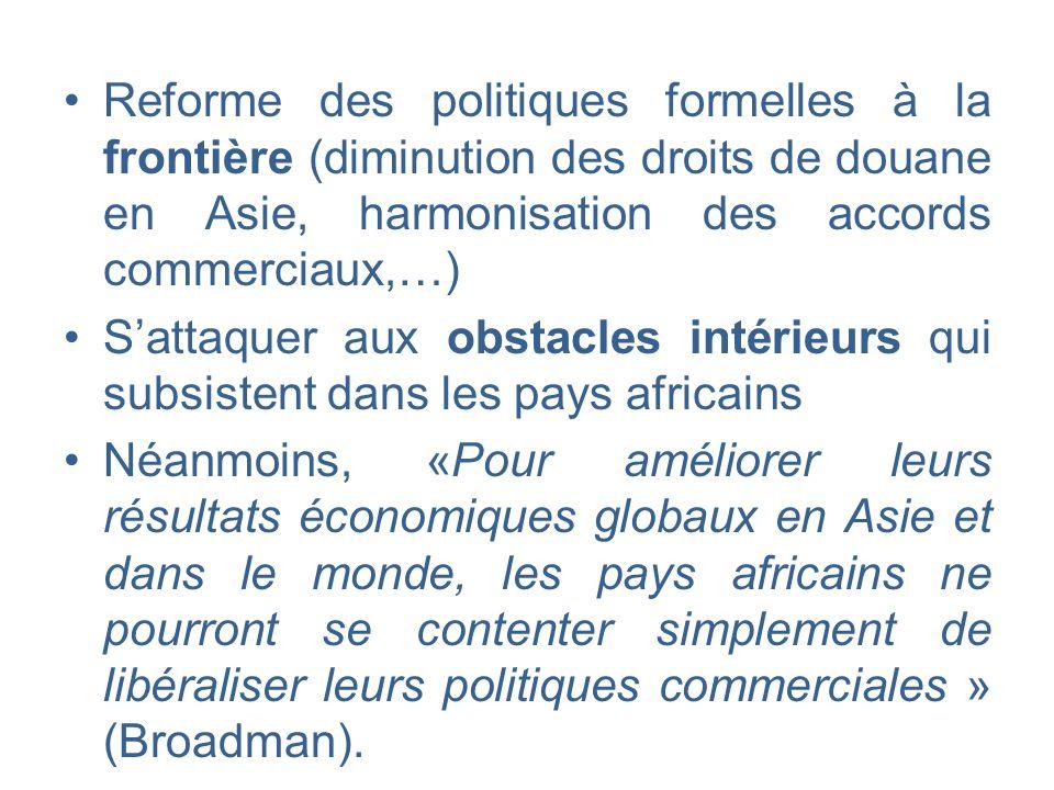 Reforme des politiques formelles à la frontière (diminution des droits de douane en Asie, harmonisation des accords commerciaux,…)