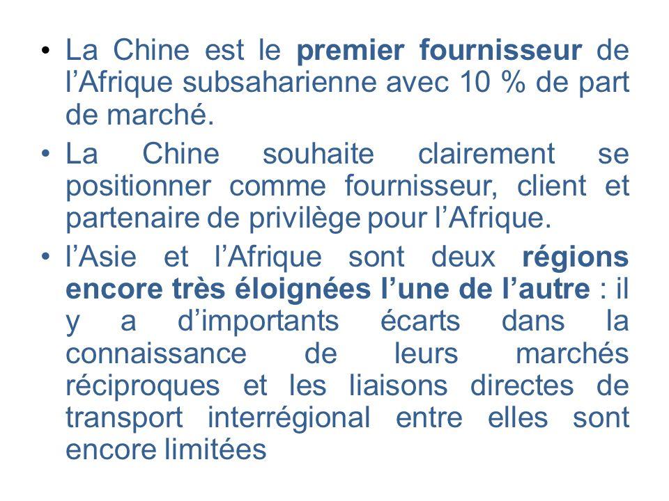• La Chine est le premier fournisseur de l'Afrique subsaharienne avec 10 % de part de marché.