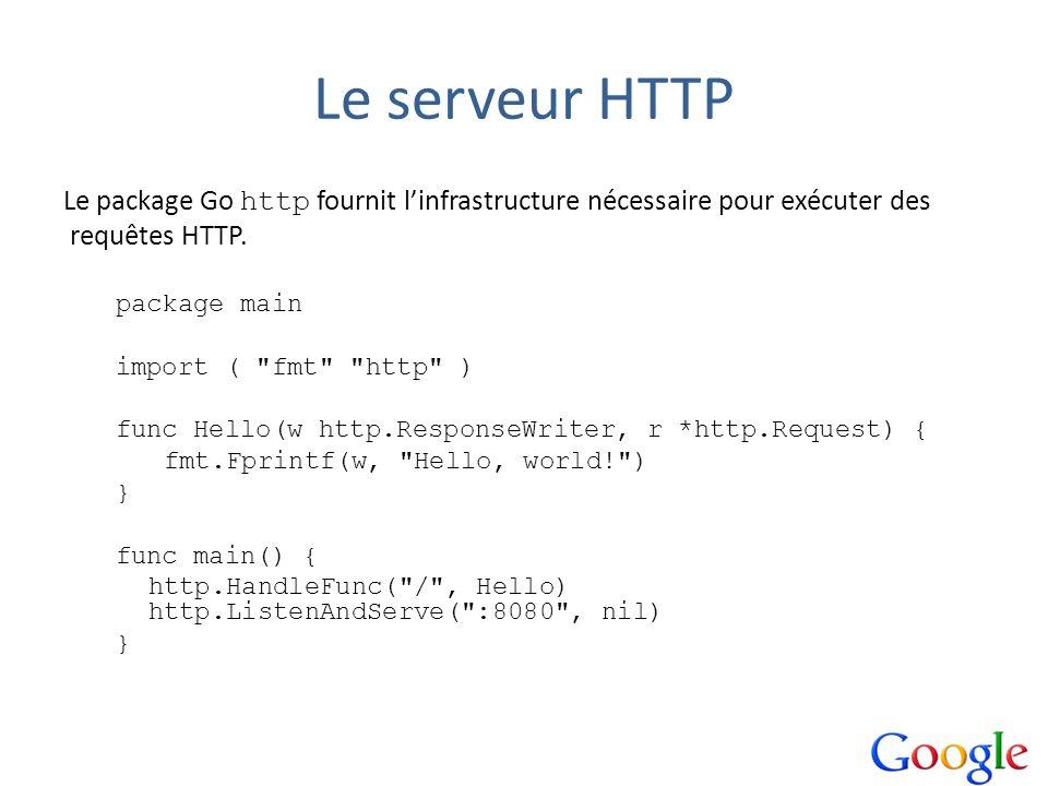 Le serveur HTTP Le package Go http fournit l'infrastructure nécessaire pour exécuter des. requêtes HTTP.