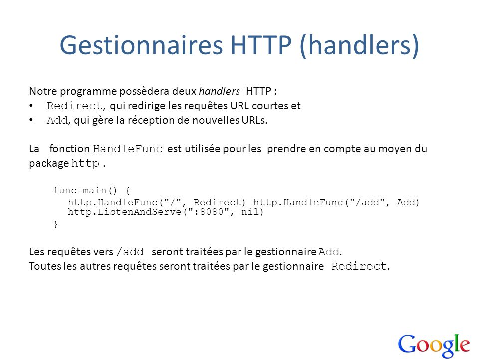 Gestionnaires HTTP (handlers)