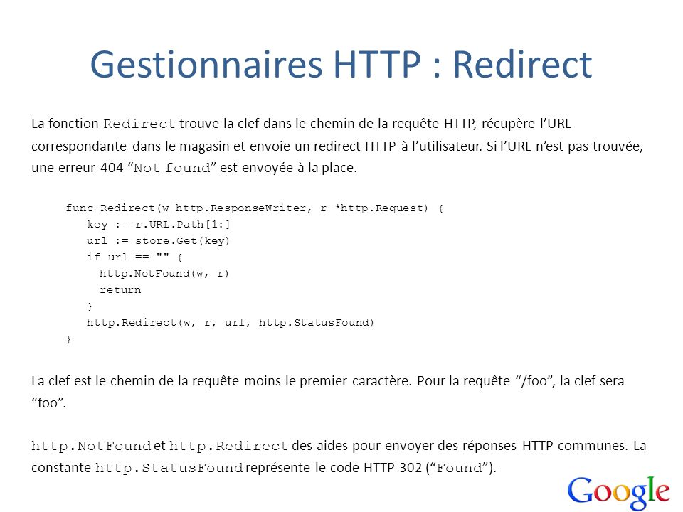 Gestionnaires HTTP : Redirect