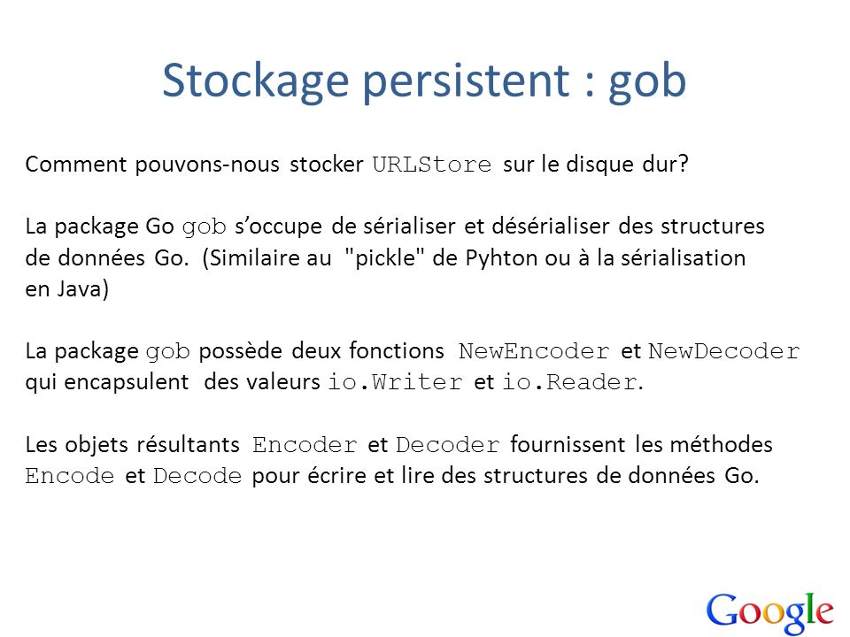 Stockage persistent : gob