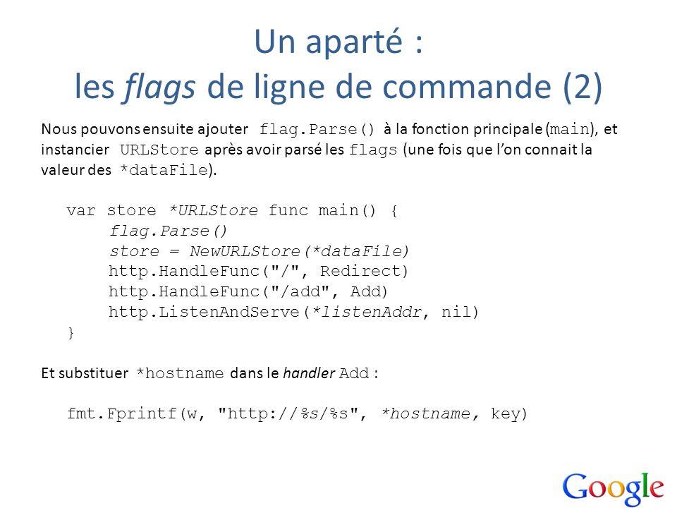 Un aparté : les flags de ligne de commande (2)