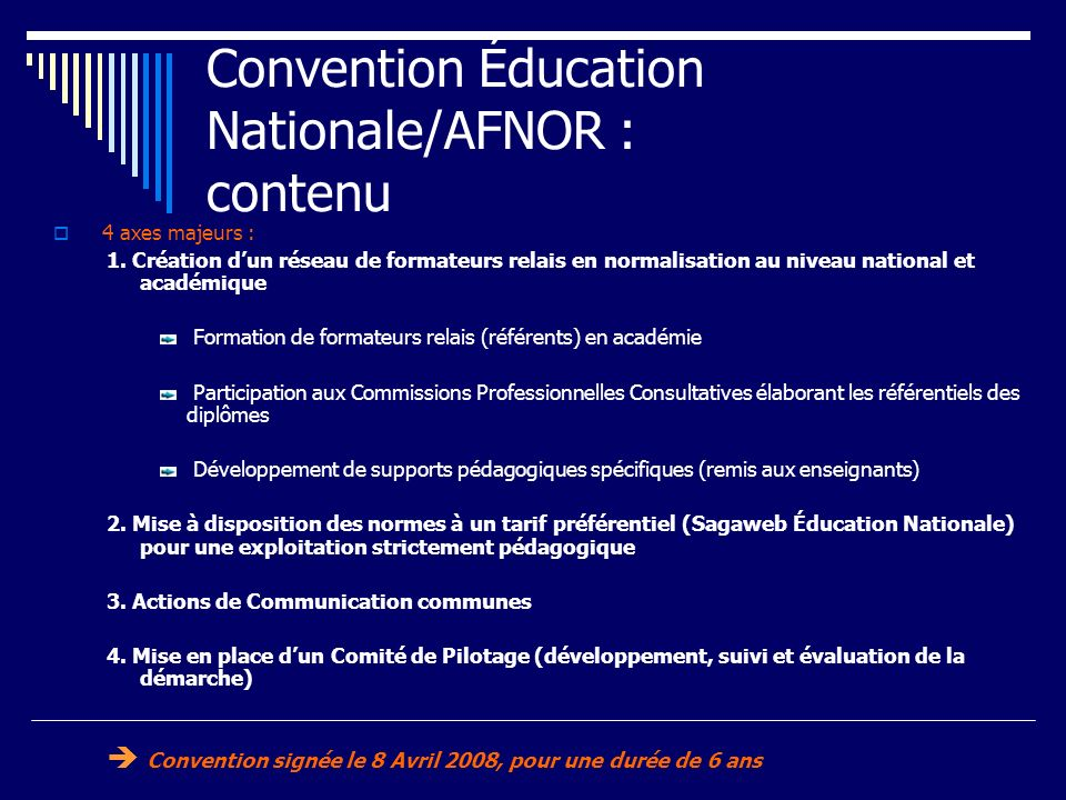 Convention Éducation Nationale/AFNOR : contenu