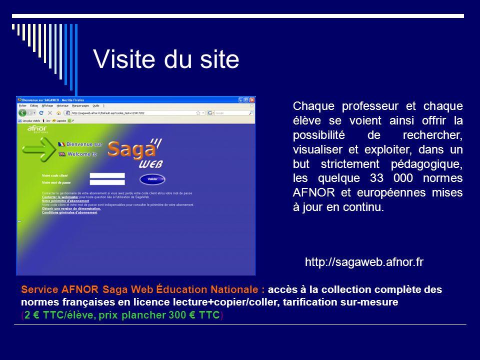 Visite du site