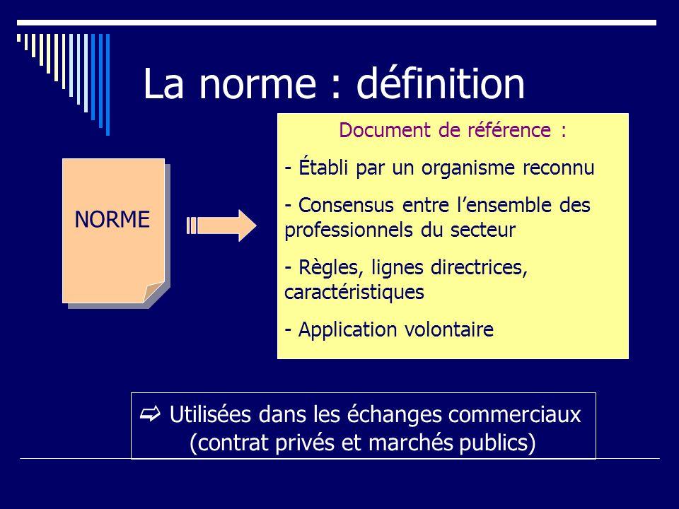 La norme : définition  Utilisées dans les échanges commerciaux NORME