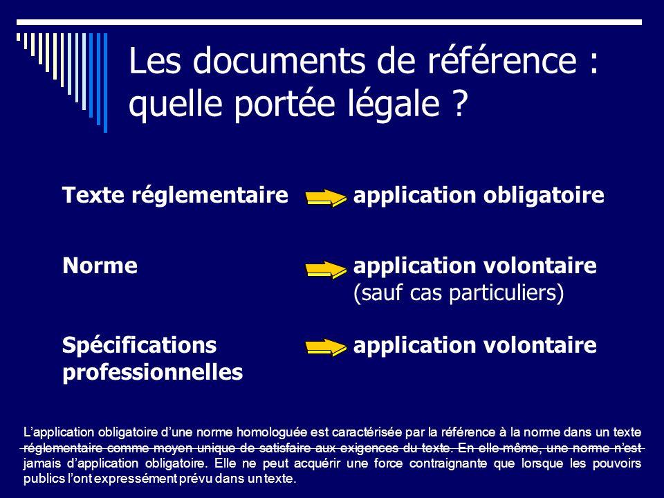 Les documents de référence : quelle portée légale